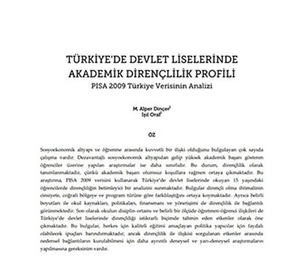 Türkiye'de Devlet Liselerinde Akademik Dirençlilik Profili