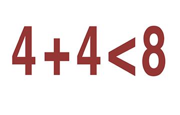 4+4<8